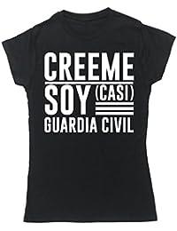 HippoWarehouse Créeme Soy (Casi) Guardia Civil camiseta manga corta ajustada para mujer
