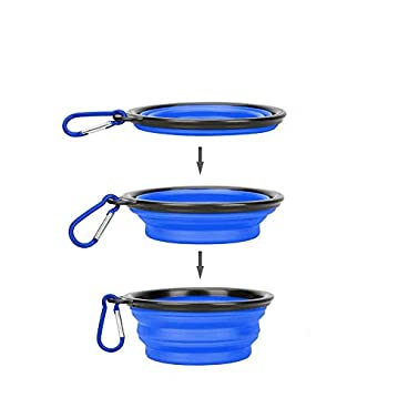 Collapsible Dog Bowl, Made of Food-Grade silicone, BPA free, Portable Pet Food/Water Bowl for Small Pet Dog Cat with a Free Hook