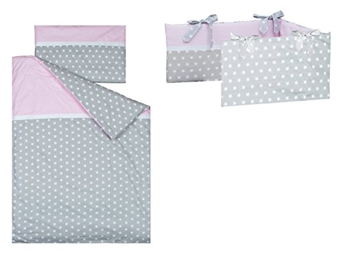 Vizaro – Cot Bumper, Duvet Cover (100x135cm) and Pillow Case – 3 Pieces Set for Cot Bed 70×140 cm – 100% Luxury Cotton – Made exclusively in the European Union, fabrics successfully tested for harmful substances – Collection Polka Dots And Stars