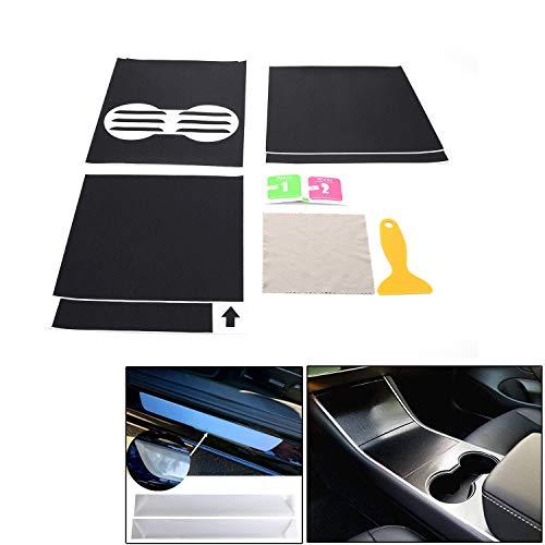 AMIGOB Carbon Folie Konsolenfolien+Einstiegsleisten-Set für Tesla Model 3 Konsolen Folien-Set, Carbonfaser, Schwarz gebürsteter Stahl Schritt Platte Anti Scratch Abdeckung Modell 3