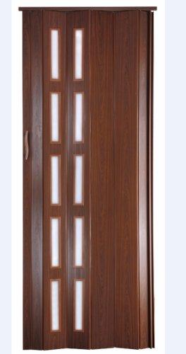 Falttür Schiebetür Kunststofftür mahagoni farben Fenster Höhe 202 cm Einbaubreite bis 94 cm Doppelwandprofil Neu
