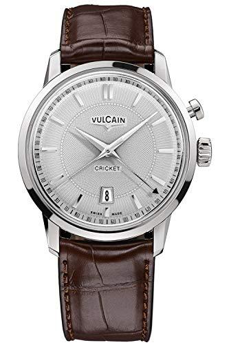Vulcain Cricket 50s Presidents Herren Uhr analog Handaufzugwerk mit Leder Armband 110151G20.BAL128