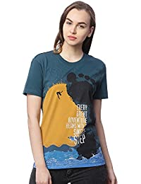 Wolfpack Outdoor Adventure Teal Green Round Neck Half Sleeves 100% Cotton Girls/Womens T Shirts for Adventurous Folk