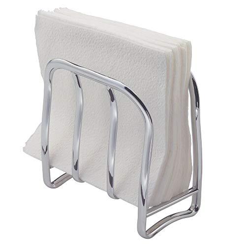 Idesign accessori cucina per tovaglioli, piccolo dispenser tovaglioli da tavola in metallo, portatovaglioli per tavola, ufficio e non solo, argento