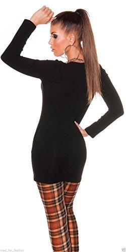 Sexy Long Top Bluse mit abnehmbarer Kette und Seitentaschen. 2Farben. Schwarz - Schwarz