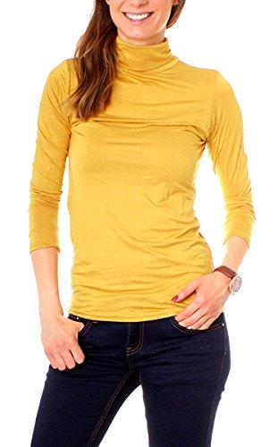 Easy Young Fashion Basic Damen Langarm Shirt Rollkragen One Size Maisgelb