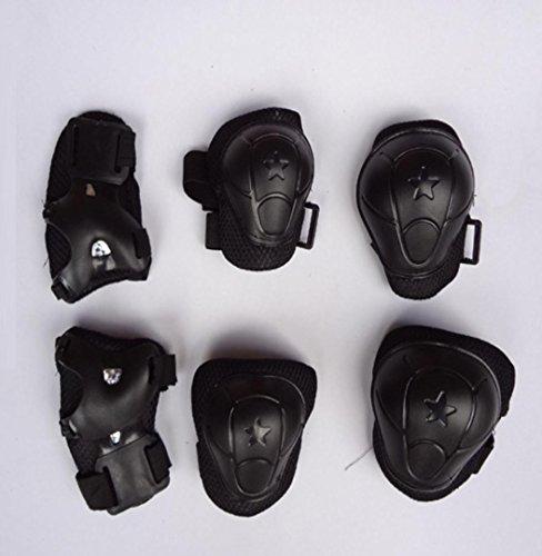 MZP Roller skating enfant rembourré sécurité patinage à roulettes genouillères protègent le costume de six protections de poignet coude pour hommes et femmes . [s] black