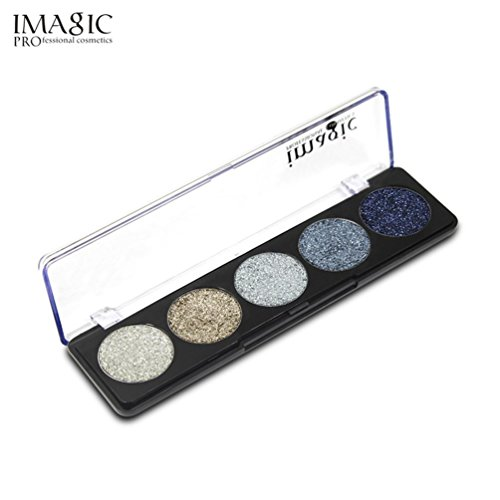 Eyeshadow Palette,VNEIRW 5 Bright Colours+Shimmer+Glitter Powder Cosmetic Makeup Eye Shadow Pallette (A)