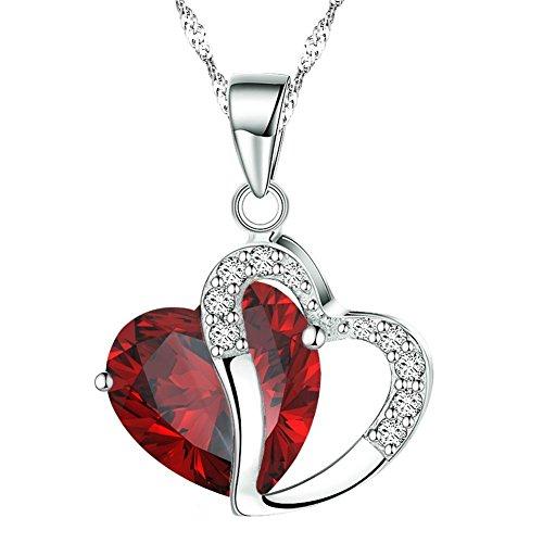 Boolavard Halskette mit Anhänger Mode österreichischen Kristallen Herz Shape + Geschenkbox Rouge...