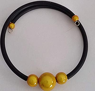Bracelet perles jaunes