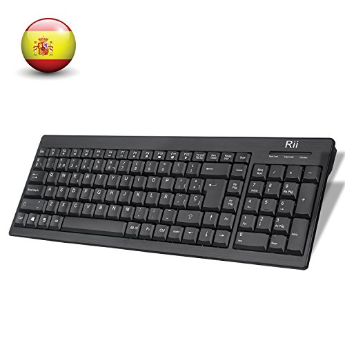 Rii RK901 Wireless Teclado (layout Español) Teclado inalámbrico para Windows, Android, Chrome y Smart TV, QWERTY Español, color negro