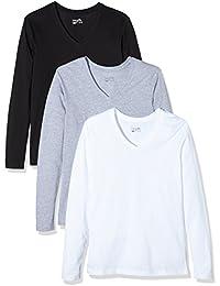 Berydale Damen Langarmshirt mit V-Ausschnitt, 3er Pack, in verschiedenen Farben