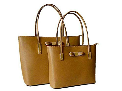 Damen Twin Faux Leder Bogen Handtasche 2 Eimer Schultertasche Grosse Tasche ARBEITSMETALL -