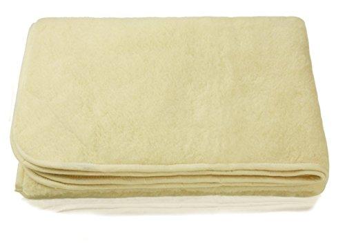 Zaloop Schurwolle Merino Wolldecke 100% Decke Wohndecke Bettdecke Tagesdecke Wolle (ca. 140 x 200 cm, wollweiß)