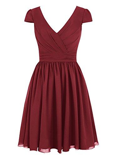 Dresstells, robe courte de demoiselle d'honneur mousseline manches courtes col en V Bordeaux