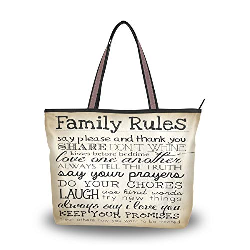 Emoya Fashion Tote Bag Family Rules Black Begie Vintage Style Damen Fashion Schultertasche Hobo Griff Geldbörse L, Mehrfarbig - multi - Größe: Medium (Black Handtaschen Hobo Medium)