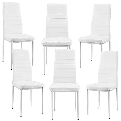 [en.casa] 6 x Chaise de salle à manger (blanc) avec rembourrage cuir synthétique de grande qualité pour salle à manger / salle de séjour / cuisine - kit