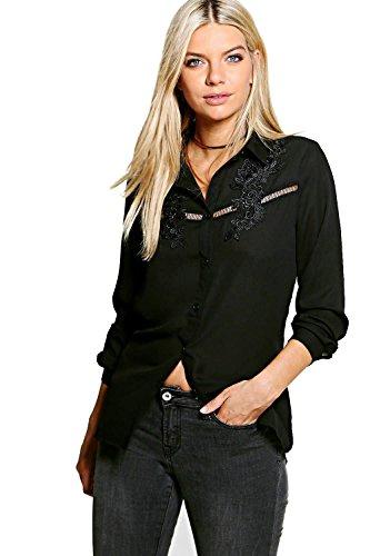 Noir Femme Petite Nicky Embroidered Ladder Trim Shirt Noir