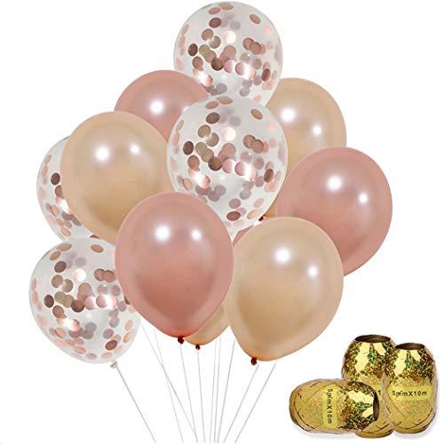 Faylapa 30 piezas de confeti de oro rosa globos con cuerda elástica, 12 'oro rosa / champán globos de látex de oro, ducha nupcial de la boda cumpleaños fiesta de graduación decoraciones de la ducha del bebé