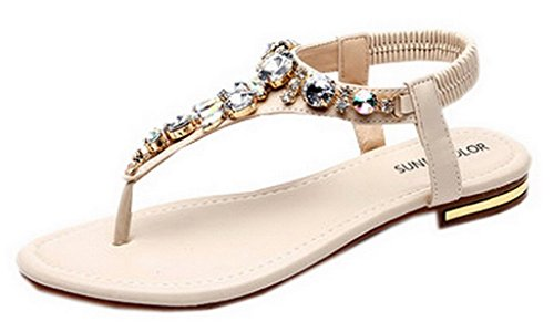 La vogue sandali da donna infradito estivo mare flip-flops a strass pu pelle (lunghezza delle scarpe di 258mm, beige)
