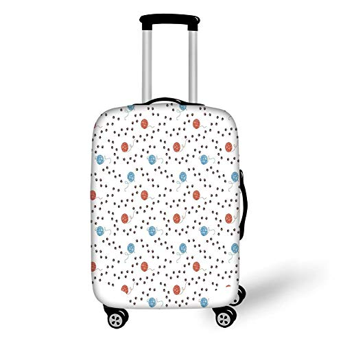Travel Luggage Cover Suitcase Protector,Cat,Animal Kitten Paw Footprints Paths Clew of Threads Yarn Pet Playful Cute,Light Blue Coral Brown,for Travel M Gypsy Thread