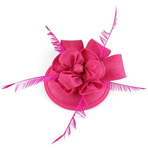 Donad Frauen-Fedora-Leinenhochzeits-Hut-Feder-elegante Pillbox-Hut-Kirchen-Kopfbedeckung -