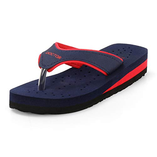 DOCTOR Women's Blue and Red Mesh Extra Soft Dr. Slippers - 8 IND/UK (41 Eur)