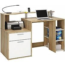Escritorio mesa de ordenador multimedia 140cm. Roble y blanco, Para estudio, despacho, habitación juvenil