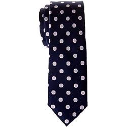 Retreez–Corbata de lunares, Tejido microfibravarios colores azul Navy Blue with White Dots Talla única