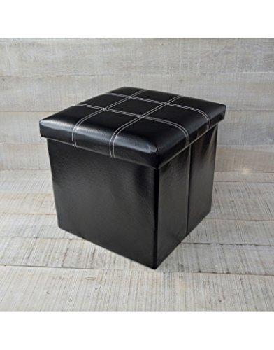 Puff/Arcón Plegable Acolchado de Almacenamiento, en Color Negro. Eleg