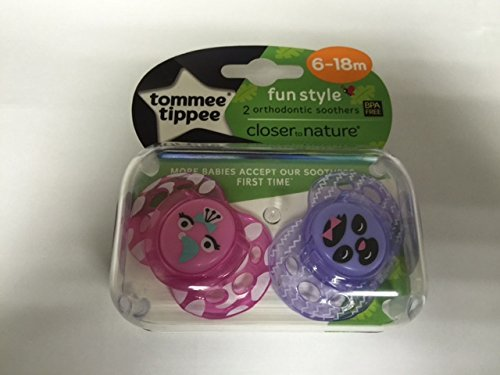 TOMMEE TIPPEE 6-18M CLOSER TO NATURE SOOTHERS PINK PARROT / PURPLE by Tommee Tippee