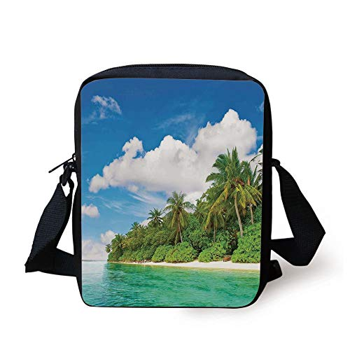 Ocean,A Surreal View in Tropical Island Palm Trees Ocean and Sky Exotic Lands,Turquoise Green White Print Kids Crossbody Messenger Bag Purse -