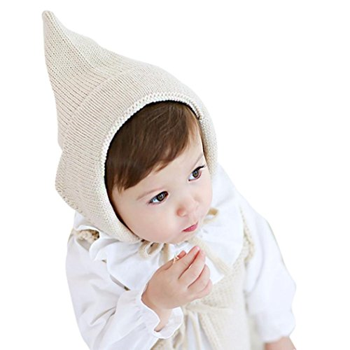 LuckyGirls warme Mütze Baby Kleinkind Junge Mädchen Caps gestrickt häkeln feste Beanie Winter Hüte (beige)