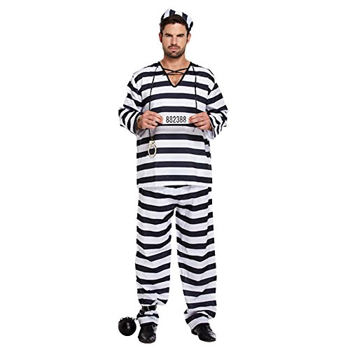 White Für Black Party Kostüm Und - Black and white Prisoner Convict Robber Burglar Prison Break Jail TV Köstum Fancy Dress Costume Outfit - U00309