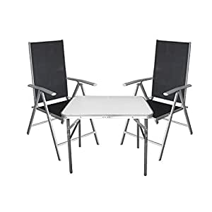 3tlg campingm bel balkonm bel set aluminium tisch klapptisch hochlehner mit 7 fach. Black Bedroom Furniture Sets. Home Design Ideas