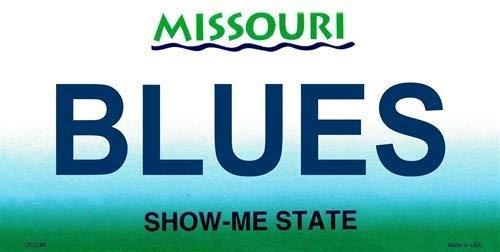 Ganheuze Blues Missouri State Background License Plate Aluminum Metal Sign 6 X 12 (License Plate Missouri)