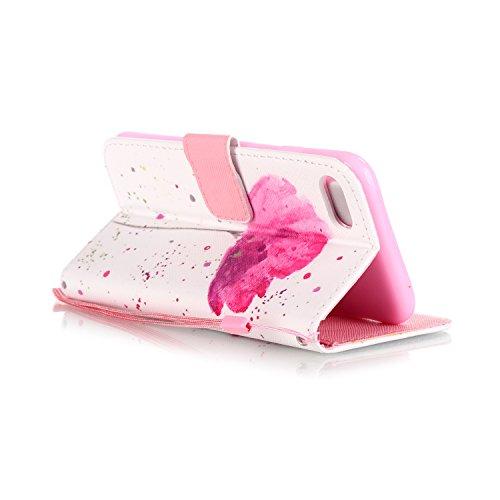 iPhone 7 Hülle,iPhone 7 Ledertasche Handyhülle Brieftasche im BookStyle,SainCat PU Leder Hülle Wallet Case Folio Schutzhülle Karikatur Muster [Scharfschütze-Don't Touch My Phone] Lederhülle Scratch Bu Eine rosa Blume