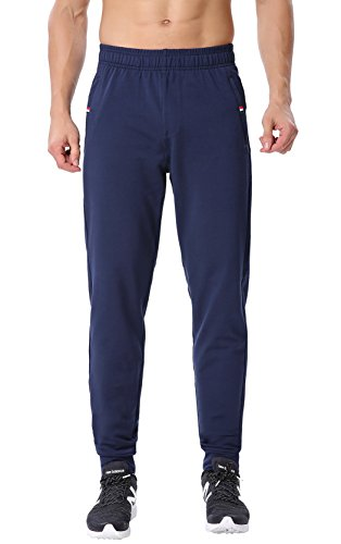 ChinFun Herren Konisch Athletic Running Hose Slim Fit Schließen Unten Jogger Sweatpants Reißverschluss Taschen m-XXXXL, Herren, Slash Pockets-Navy (Close Bottom), Size M (Waist 27