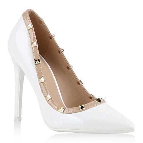 Elegante Damen High Heels Spitze Pumps Lack Metallic Stiletto Samt Glitzer Nieten Abend Business Schuhe 141244 Weiss Nieten 40 Flandell