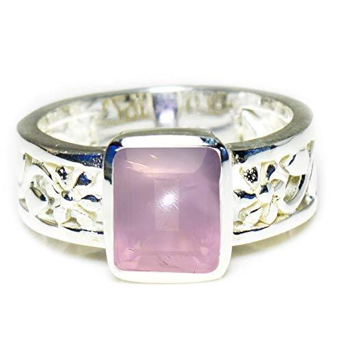 Gemsyogi Unisex Herren Damen - Sterling-Silber 925 Sterling-Silber 925 Emerald-Cut Brown Rauchquarz (Herren Emerald Ring)