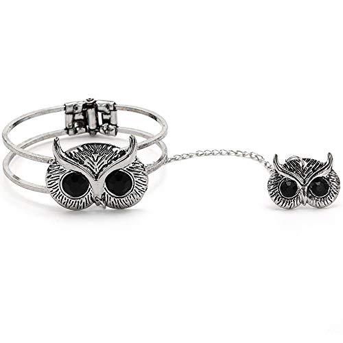 AZUO Vintage Fashion Big Eye Diamant Eule Armband Ring EIN Armband Mode Quaste Kette Eröffnung Schmuck