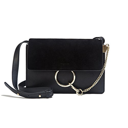 Donne Cuoio Genuino Opaco Retro Hardware Anello Rotondo Singola Spalla Crossbody Bag Black
