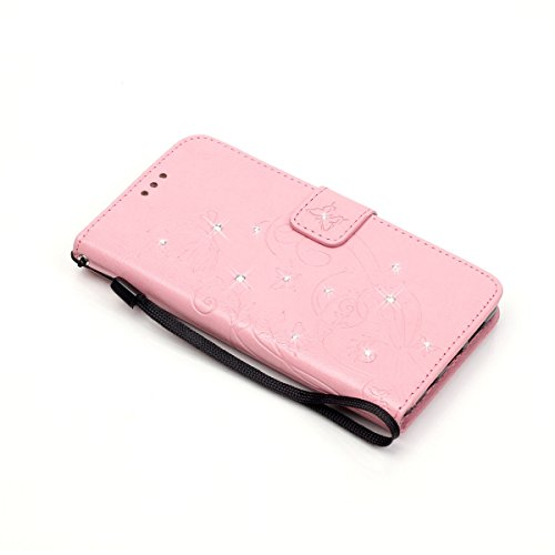 Galaxy S6 Edge Custodia, Custodia Samsung Galaxy S6 Edge G925, Samsung Galaxy S6 Edge Custodia Portafoglio Pelle, JAWSEU [Shock-Absorption] Lusso 3D Goffratura Fiore Farfalla Wallet Leather Flip Cover Diamante Fiore, Rosa