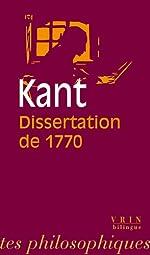 La Dissertation de 1770 de Emmanuel Kant
