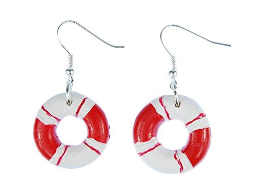Rettungsring Ohrringe Hänger Miniblings Maritim Boot Schiff Meer Ring rot weiß