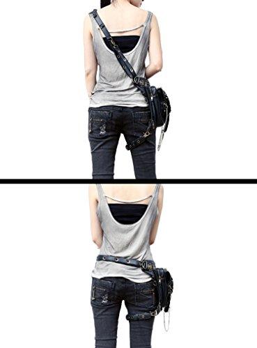 henmerry Rock Vintage gotico Steampunk borsa borsa a tracolla portamonete, donna Uomo, Red Black6