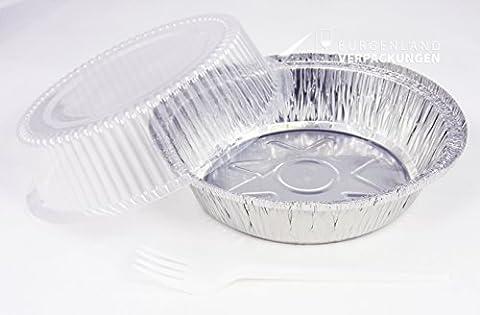 20 Alu-Schalen • rund • INKLUSIVE 100 weiße Plastikgabeln • Aluminiumschale mit glasklarem Dom-Deckel • 801LD • 18 x 18 x 17 cm • 770 ml • Alubehälter • Menüschale • Assietten • Einweggeschirr