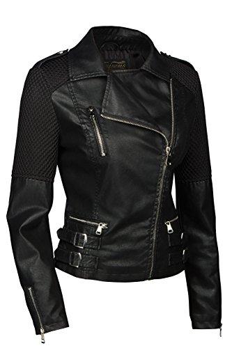 Trisens Damen Jacke Biker KURZ Motorrad Jacke Kunstleder PU, Farbe:Schwarz, Größe:S - 3