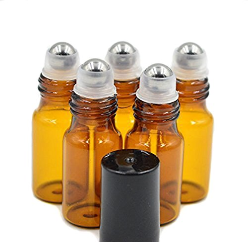 24PCS 3ml/5ml(0.1oz/0.17oz) Amber Empty Glass Roller Bottle Roll-on Bottle Vial Container Holder Pot Jar With Metal Roller Ball and Black Caps for Essential Oil Perfumes Lip Gloss Balms (3ml) -