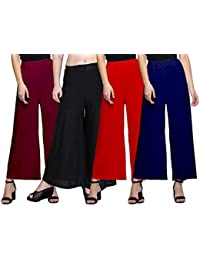 Omikka Women's Stretchy Malia Lycra Wide Leg Palazzo Pants Pack of 4 (Free Size, Pack Of 4, Maroon, Black, Red, Navy Blue)